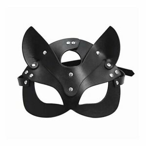 Women Cat Mask Half Face Sexy Fox Leather Punk Collar Cosplay Masquerade Party
