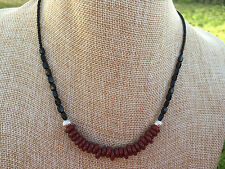 HDMD by Cyndi Necklace of Mahogany Red Glass Rings & Black Czech Beads w/ Silver