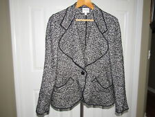 Armani Collezioni Black White Wool Mohair Jacket size 8 Made in Italy