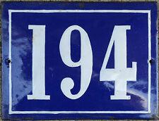 Large old French house number 194 door gate plate plaque enamel steel metal sign