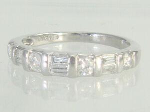 Vintage 950 Platinum Round & Baguette Cut .50ctw Diamond Wedding Band Size 5.25
