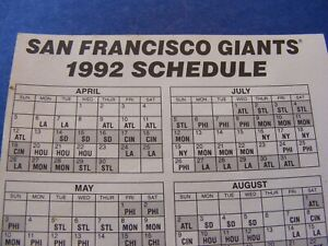 san francisco giants 1992 decal with schedule
