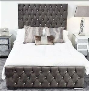 gray plush velvet bed frame in king size double size single size with button