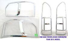 SET CHROME HEAD+TAIL LIGHT LAMP COVER FOR TOYOTA VAN HIACE COMMUTER D4D 2014-15