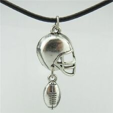 "Vintage Silver Sports Ball American Football Rugby Helmet Pendant 17"" Necklace"