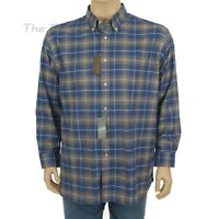DANIEL CREMIEUX Men's XX-LARGE Long Sleeve BLUE & BROWN PLAID SHIRT Button Front
