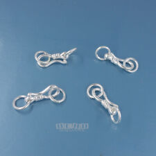 4 Sets Solid Sterling Silver Hook Clasp Connector 12mm plus 6mm Rings #44020