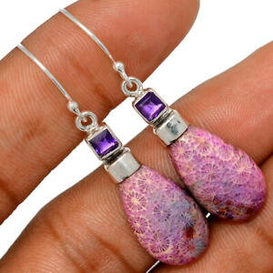 Purple Indonesian Fossil Coral & Amethyst 925 Silver Earring Jewelry BE64967