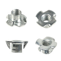 50Pcs M4 M5 M6 M8 4 Prong T-Nut Tee Nut Zinc Plated Steel for Wood Furniture