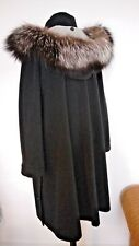 Damen Wollmantel Silberfuchs Echtfell Mantel Coat Silver Fox Fur Collar - Gr. L