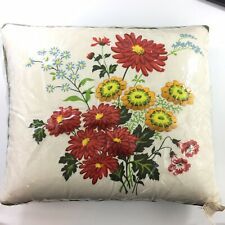 Mid Century Vintage Floral Flowers Green Throw Pillow