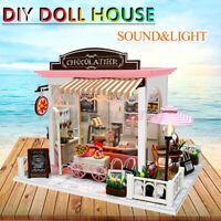 Mini DIY LED Wooden Dollhouse Miniature Wooden Furniture Doll House Kit Gift Toy