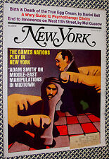 1971 New York Magazine, GAMES NATIONS PLAY, West 11th St, EGG CREAMS, Therapists