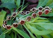 Vintage 14k Yellow Gold Garnet Heart Tennis Bracelet Estate Jewelry 9.3 gm