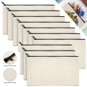 10Pcs Canvas Makeup Bags Canvas Zipper Pouch Bags Pencil Case Blank DIY Craft