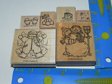 Stampin Up Snow Angels Stamp Set 6 Winter Hot Cocoa Snowman Mittens Snowballs