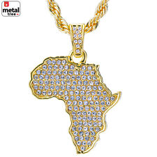 "14k Gold Plated Iced African Map Pendant 24"" Chain Set HC 1126 G"