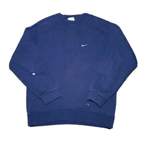 VTG 2000s Nike Silver Tag Small Embroidered Logo Navy Crewneck Sweatshirt Size M