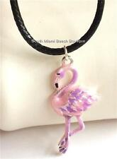 "Silver Pink Flamingo Necklace Plated Pendant Island 17-19"" Beach Tropical Bird"