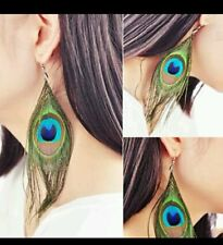"4"" PEACOCK feather hippie hipster EARRINGS UK SELLER FREE DELIVERY"