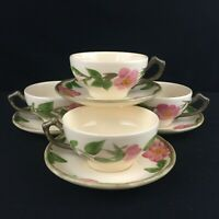 Set of 4 VTG Cups and Saucers by Franciscan Desert Rose Pink Floral England