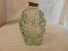 Vintage Clear Embossed Glass Wise Old Owl Piggy Bank With Stopper
