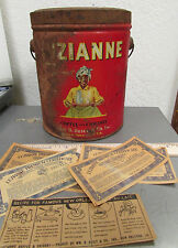 Vintage Luzianne Coffee  & Chicory 1928 large tin, w coupons, great logo