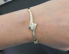 14k Yellow Gold 'Past Present Future' Diamond Bangle Bracelet