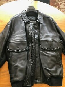 Canali lined black leather jacket