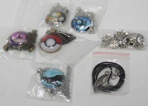 Lot of 6 New Necklaces + Made With Love Charms 4 Pokemon 1 Wolf Howling 1 Wings