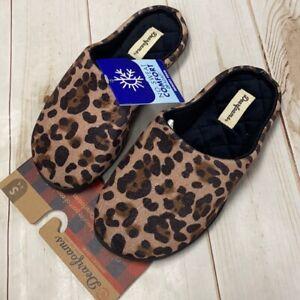 Dearfoams House Shoes Memory Foam Lepoard Rubber Soles Slippers Size Small 5-6