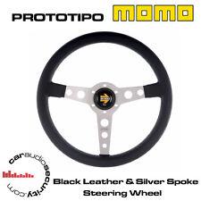 Momo prototipo 350MM Cuero Negro Plata habló Volante