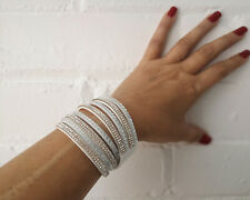 White faux leather & diamante studded wrap bracelet - wristband - choker   #18