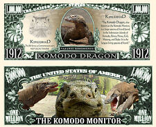 DRAGON De KOMODO BILLET MILLION DOLLAR US! Collection Animal Varan Lezard Reptil