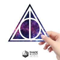 Harry potter deathly hallows vinyl car laptop sticker purple galaxy