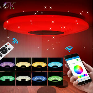 60W Modern LED Ceiling Light Round Bluetooth Music Lights Bathroom Bedroom Lamp
