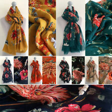Ladies Scarf Floral Shawl Long Rose Flower Print Pattern Wrap Cotton Wedding