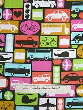 Timeless Treasures Fabric - Retro Car Bus Plane Patch Brown Orange White /Yd
