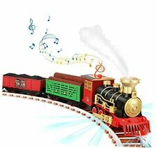Train Set - Electric Steam Train Set Toy for Kids with Smokes, Lights &
