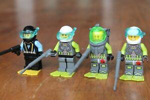 LEGO MINIFIG Minifigure Diver Scuba Spear Harpoon Fishing Atlantis Snorkel Fins