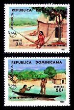 REPUBLICA DOMINICANA 1990 TEMA UPAEP 1084A/84B INDIO TAINO HAMACA,CANOA  2v.