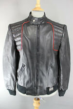 CLASSIC VINTAGE YAMAHA MAXIM WEAR BLACK LEATHER BIKER JACKET 40 INCH