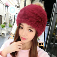 Women Real Luxury Rabbit Fur Hat Handmade Knitted Beanie Cap High Quality Unique