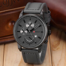 Curren Gift Men's Leather Band Sports Date Analog Alloy Military Quartz Watch