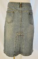 VTG 90s Urban BoHo Hippie CHIC Denim Front Pockets back Flare Design Skirt 12
