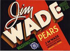Vintage fruit crate label Jim Wade Pears Wenatchee Washington USA