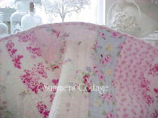 SHABBY BEACH COTTAGE CHIC BELLA BLUE PINK VINTAGE ROSES KING QUILT PILLOW SHAMS