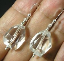Rock Crystal Quartz Faceted Medium Nugget .925 Sterling Silver Earrings