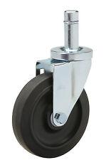 "Caster Grip Ring Stem: .845"" x 2-3/16"". Black Rubber on Poly Wheel: 5"" x 1-1/4""."