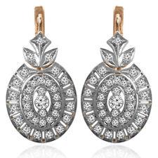 14K Rose & White Gold Genuine 2.30 Carats Diamond Russian Style Earrings